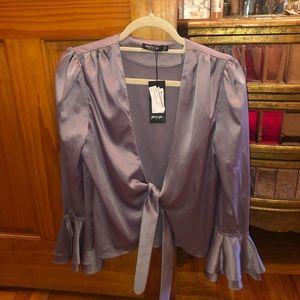 Front tie satin blouse
